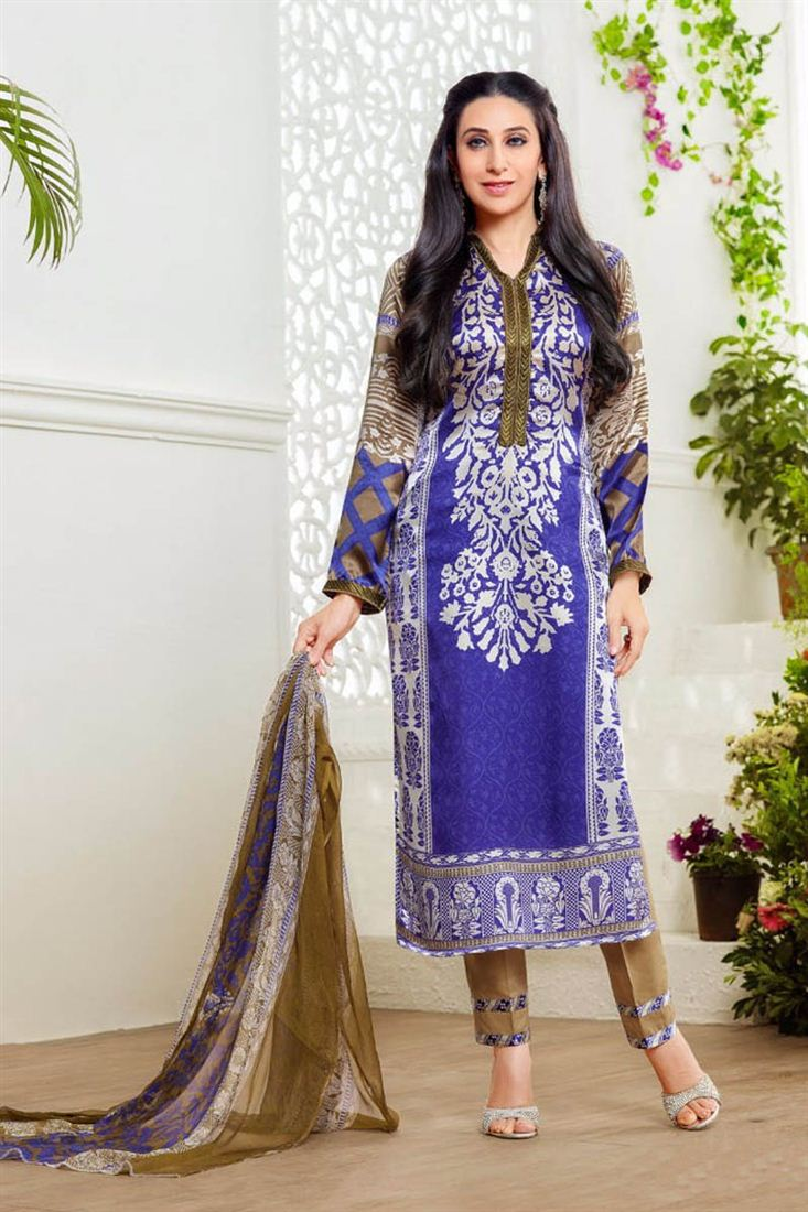 Karisma Kapoor Blue Color Cotton Salwar Kameez