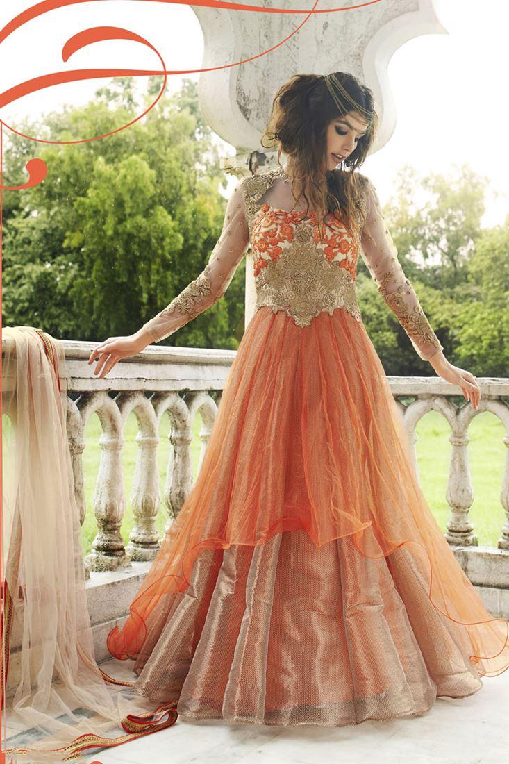Orange Net Designer Anarkali Suit with Embroidery
