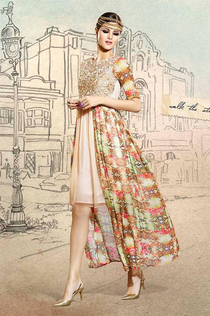 Cream Designer Party Wear Anarkali Style Kurti