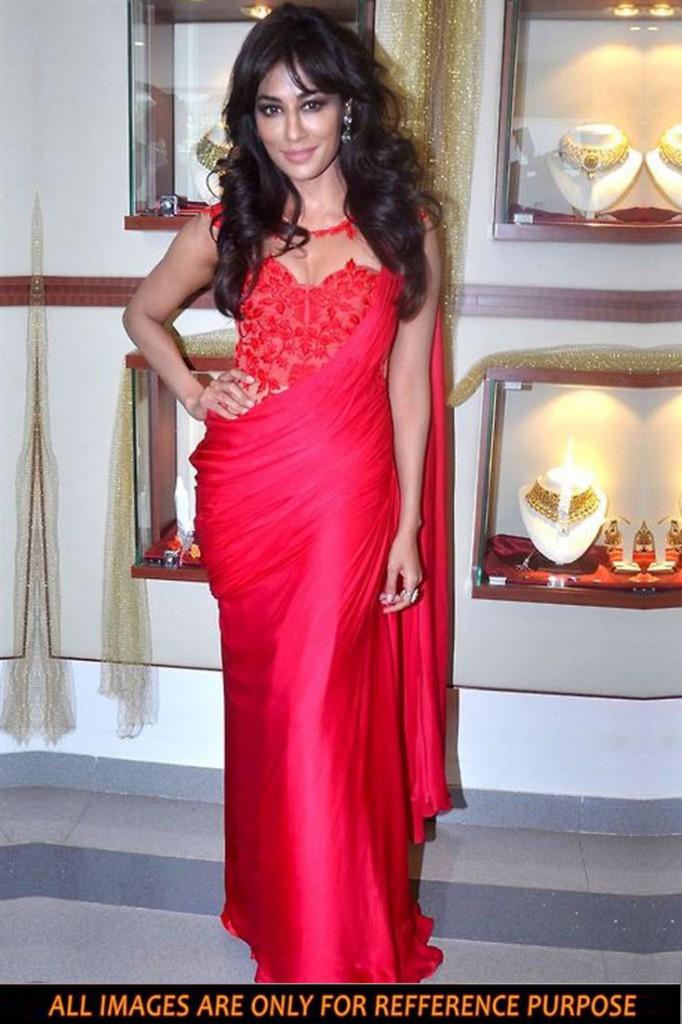 Chitrangada Sing Red Color Bollywood Replica Chiffon Saree