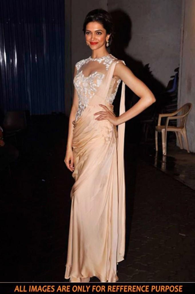 Deepika Padukone Beige Color Bollywood Replica Saree