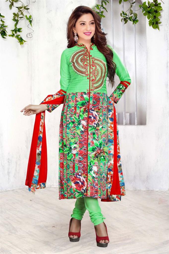 Beautiful Green Color Poplin Print Cotton Salwar Suit