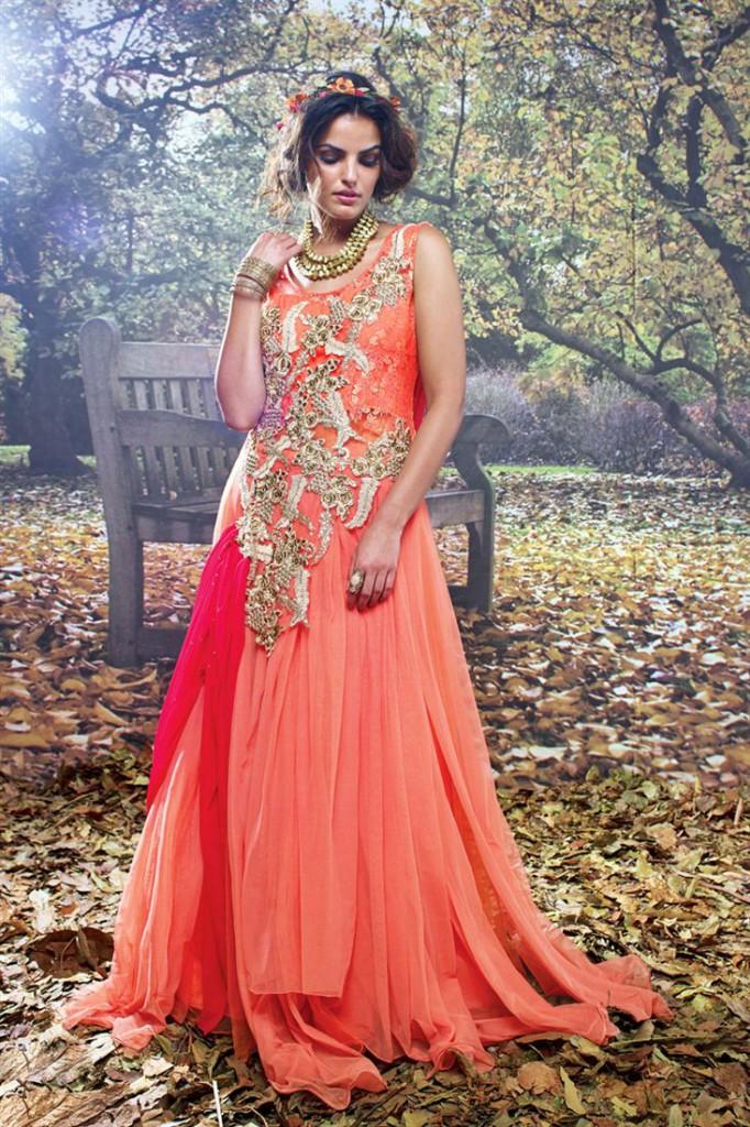 Splendid Orange Color Festive Wear Designer Gown
