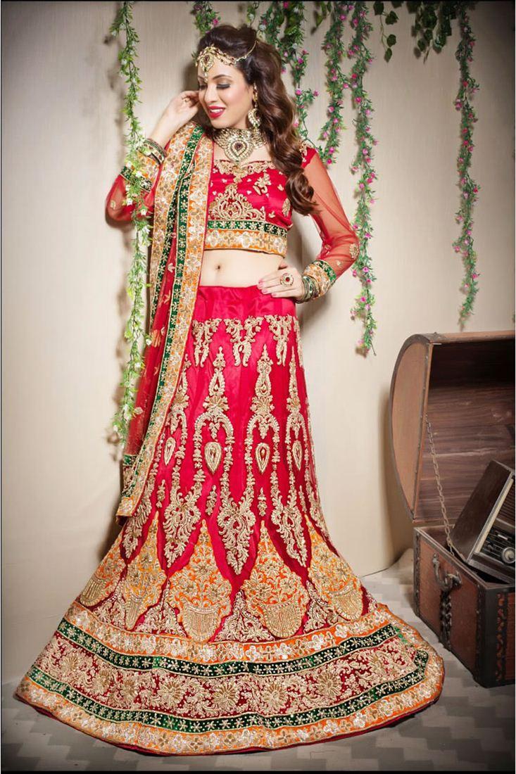 Red Color Bridal Wear Embroidered Chaniya Choli