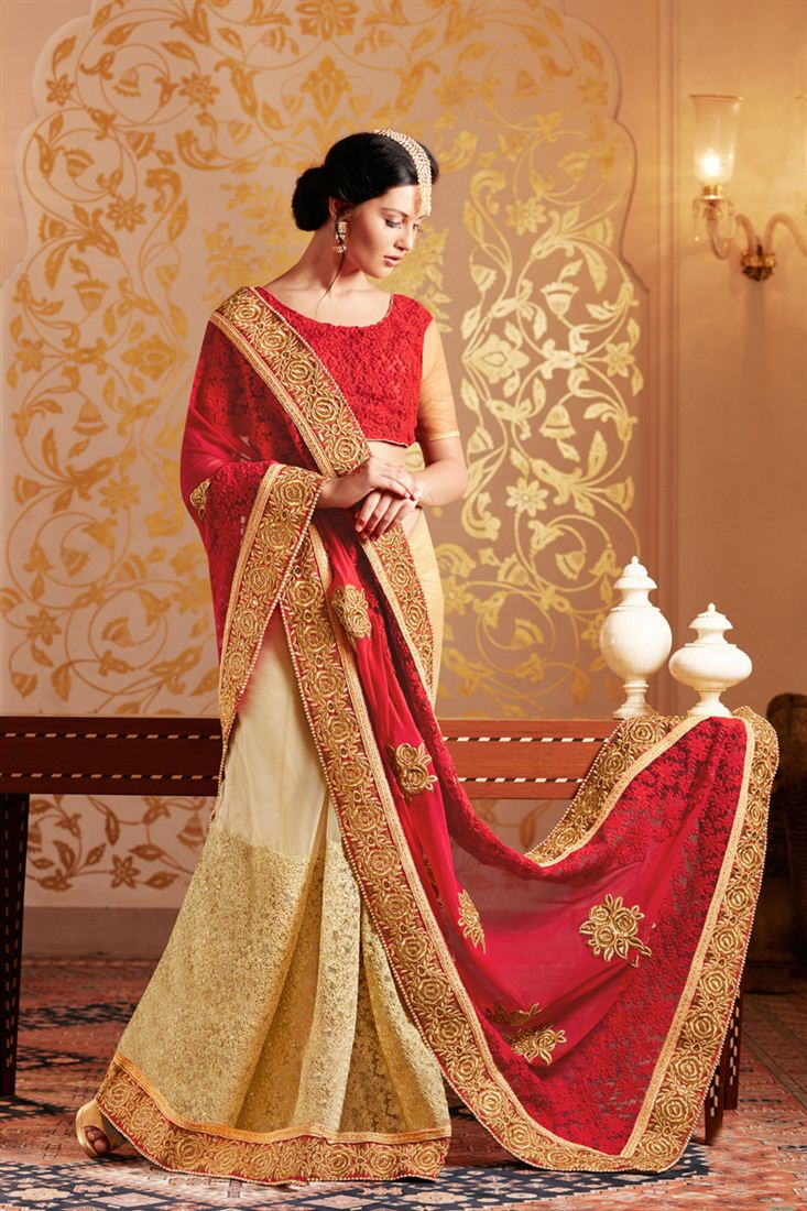 Charismatic Red And Cream Color Embroidered Saree