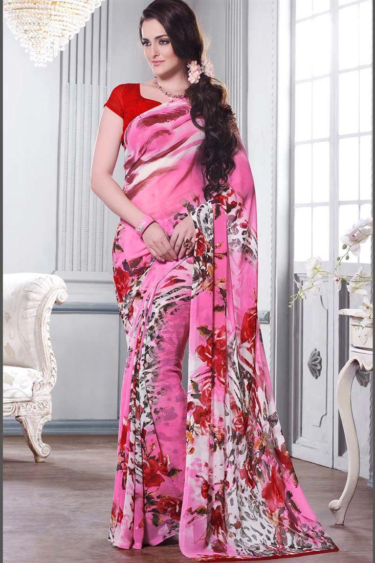 Pink Casual Wear Printed Georgette Saree