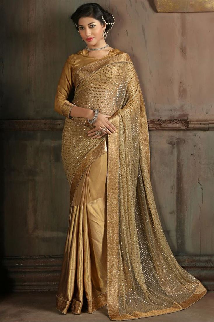 Beige Color Captivating Wedding Wear Designer Saree