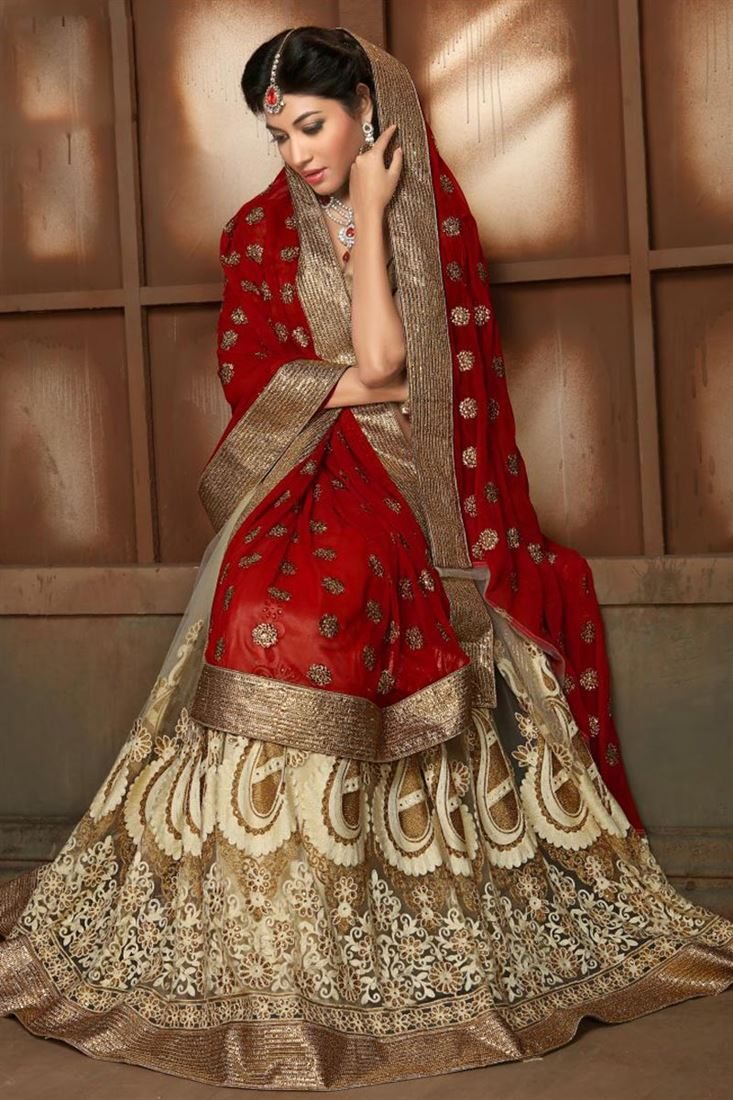 Striking Red-Cream Georgette-Net Wedding Sari