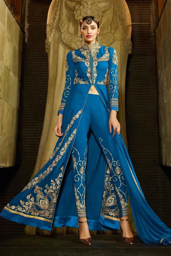 Blue Color Embroidered Georgette Designer Salwar Suit