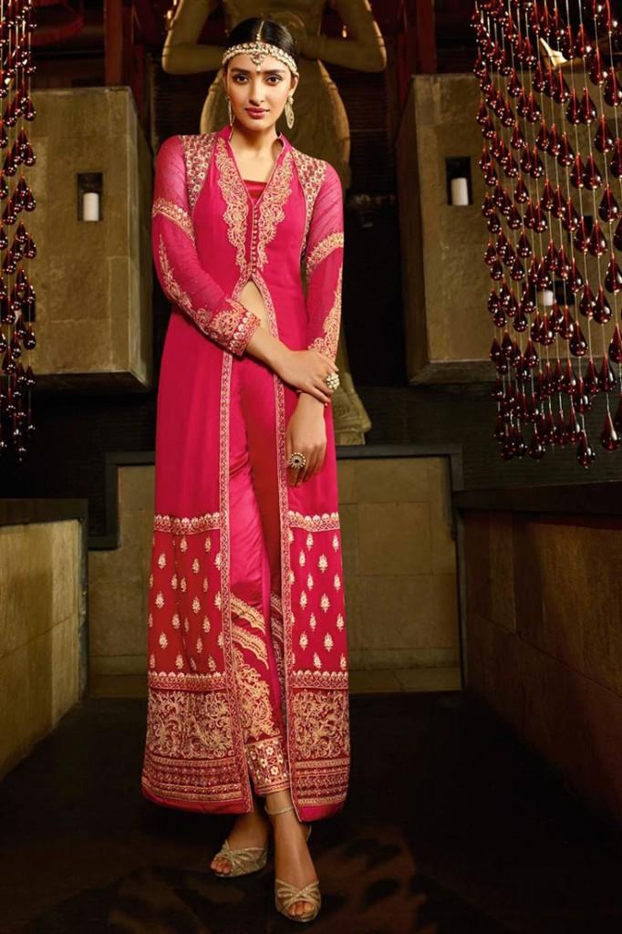 Pink Color Festive Wear Georgette Designer Salwar Suit