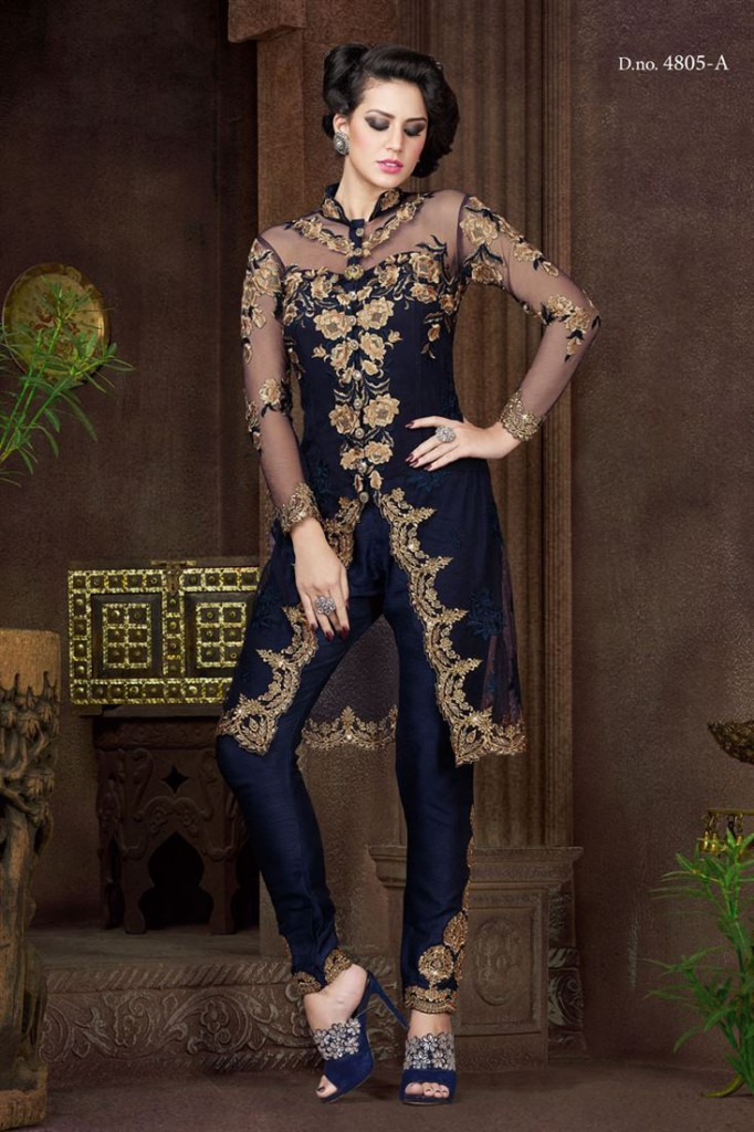 Navy Blue Color Straight Cut Net Churidar Suit with Embroidery from SareesBazaar