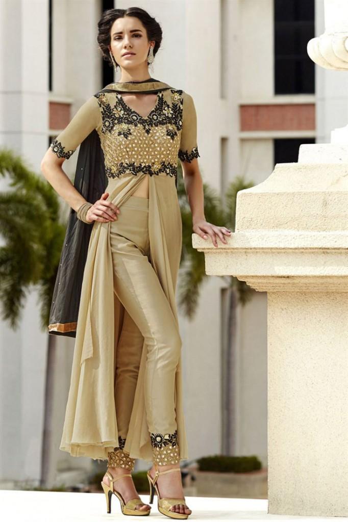 Cream Color Festive Wear Designer Salwar Kameez